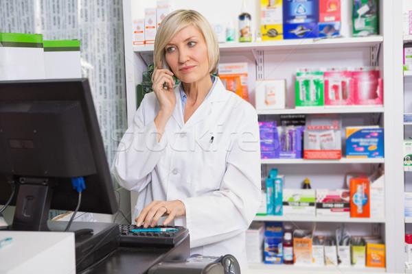 ブロンド 薬剤師 コンピュータ 女性 幸せ ストックフォト © wavebreak_media