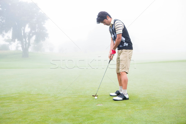 Golfer on the putting green at the hole Stock photo © wavebreak_media