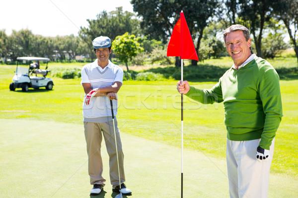 Гольф друзей улыбаясь камеры гольф счастливым Сток-фото © wavebreak_media