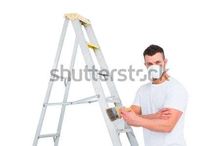 Klusjesman klimmen ladder verf man schilderij Stockfoto © wavebreak_media