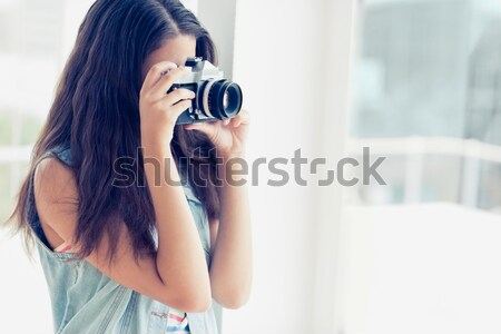 Sonriendo mujer de negocios auricular computadoras oficina ordenador Foto stock © wavebreak_media