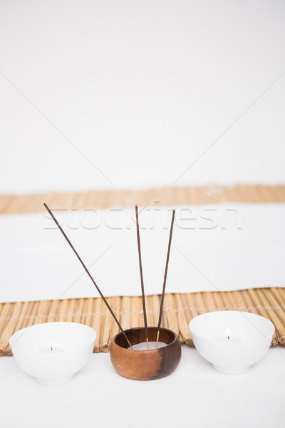 Perfumed candles and incense stem Stock photo © wavebreak_media