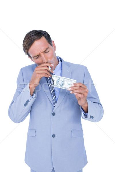ストックフォト: ビジネスマン · 燃焼 · ドル · 白 · 紙
