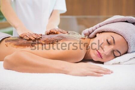 Beautiful brunette with vacuum cups on her back Stock photo © wavebreak_media