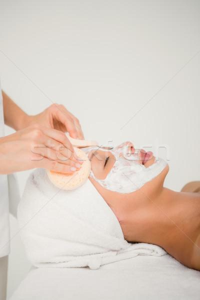 Strony czyszczenia twarz bawełny spa centrum Zdjęcia stock © wavebreak_media
