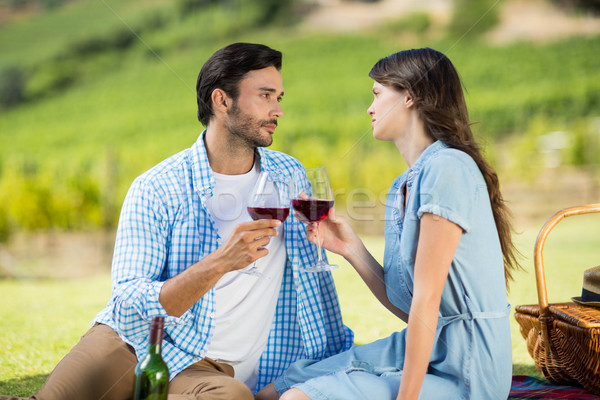 Romantic couple staring at each other while holding wineglasses Stock photo © wavebreak_media