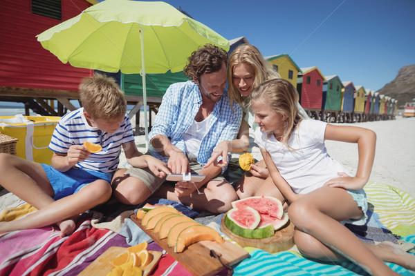 Família feliz sessão juntos frutas cobertor praia Foto stock © wavebreak_media