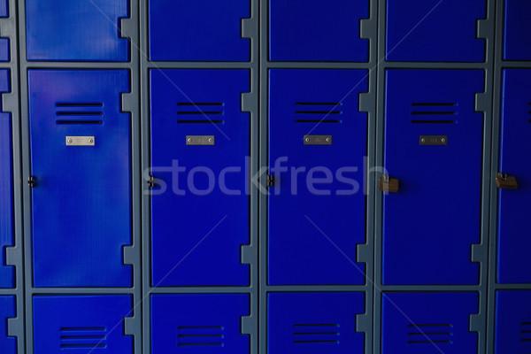 Közelkép zárva kék fa iskola fém Stock fotó © wavebreak_media