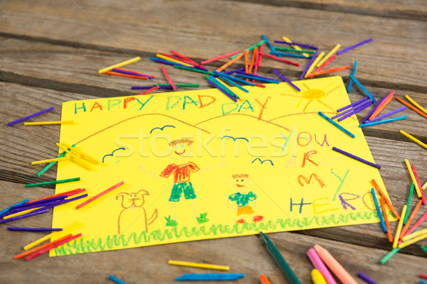 Close up of fathers day greeting card with crayons Stock photo © wavebreak_media