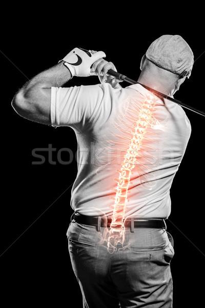 Digitaal gegenereerde afbeelding golfer spelen zwarte Stockfoto © wavebreak_media