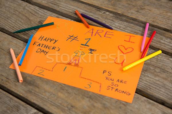 Magasról fotózva kilátás üdvözlőlap színes zsírkréták asztal Stock fotó © wavebreak_media
