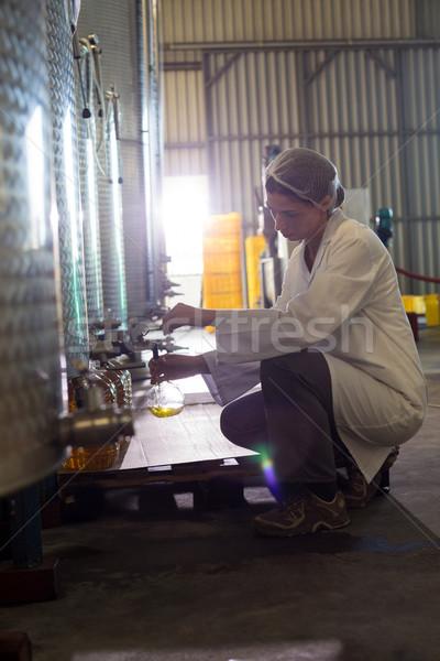 Femenino técnico examinar aceite de oliva fábrica negocios Foto stock © wavebreak_media