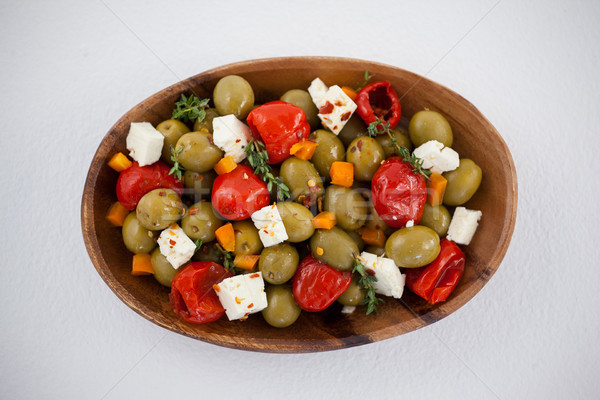 Olives with chili pepper and cheese served in bowl Stock photo © wavebreak_media