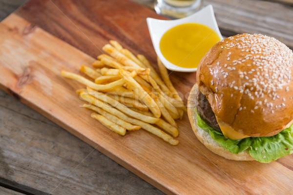 гамбургер фри соус разделочная доска мнение Сток-фото © wavebreak_media