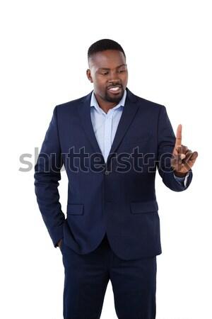 Stock fotó: Stílusos · üzletember · mutat · ujj · beszél · fehér