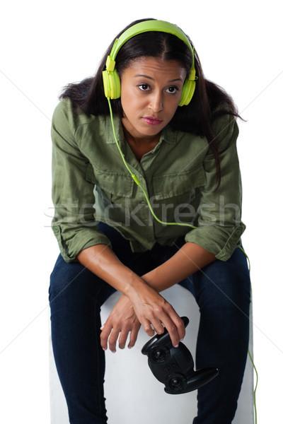 женщину джойстик белый технологий Сток-фото © wavebreak_media