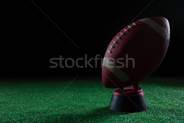 Close-up of American football standing on holder on artificial turf Stock photo © wavebreak_media