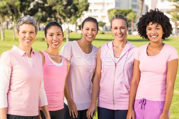 Smiling women wearing pink for breast cancer Stock photo © wavebreak_media