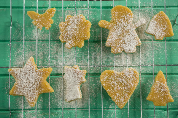 Unmittelbar über erschossen Puderzucker Cookies Kühlung Stock foto © wavebreak_media
