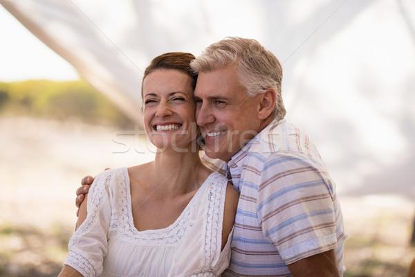 Boldog pár ül kunyhó szafari vakáció Stock fotó © wavebreak_media