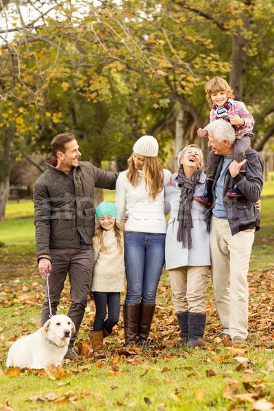 Stockfoto: Uitgebreide · familie · poseren · warm · kleding · vrouw · familie