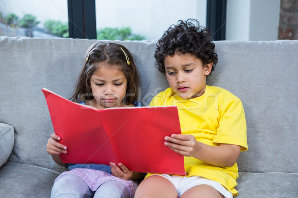 Cute siblings reading a book on the sofa Stock photo © wavebreak_media