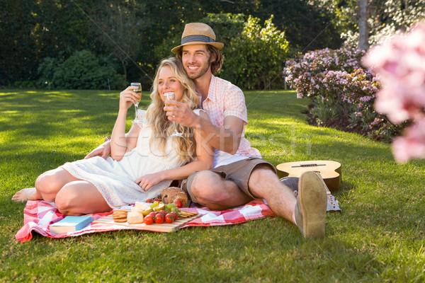 Gelukkig paar picknick tuin boom Stockfoto © wavebreak_media