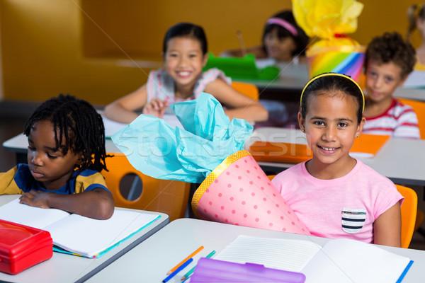 Dzieci pracy posiedzenia ławce portret cute Zdjęcia stock © wavebreak_media
