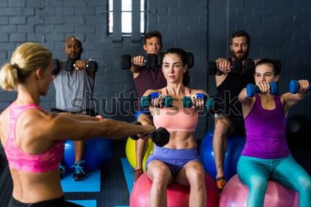 Portre ciddi koç ayakta spor salonu Stok fotoğraf © wavebreak_media