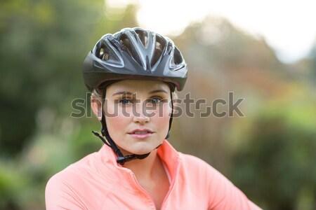 Stock fotó: Közelkép · mosolyog · férfi · sportos · park · portré