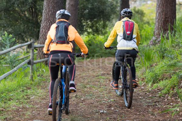 Motoros pár biciklizik vidék erdő nő Stock fotó © wavebreak_media