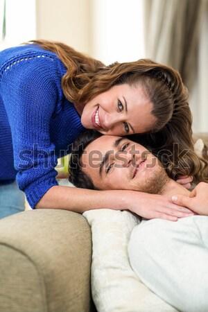 Kız uyku silah ev kız sevmek Stok fotoğraf © wavebreak_media