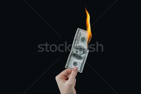 Kéz tart száz dollár számla tűz Stock fotó © wavebreak_media