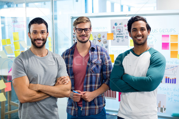 Stock photo: Creative business team standing against the wall with sticky notes