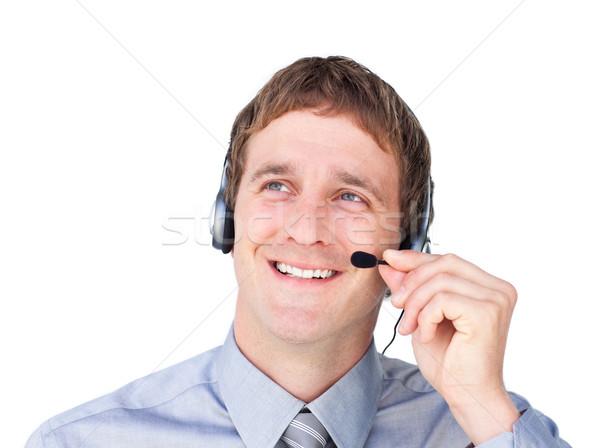 Tolakodó headset felfelé néz fehér üzlet mosoly Stock fotó © wavebreak_media