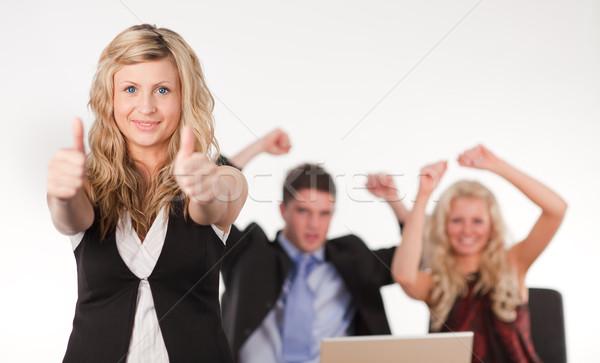 бизнес-команды счастливым стороны связи белый Сток-фото © wavebreak_media