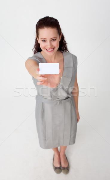 Mujer de negocios blanco tarjeta de visita sonriendo Foto stock © wavebreak_media