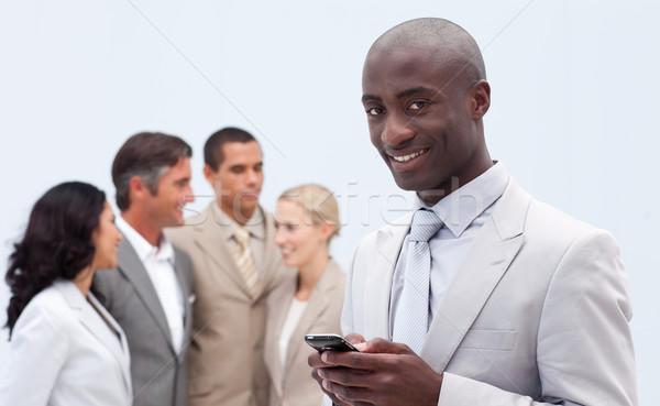 üzletember küldés szöveg csapat férfi munka Stock fotó © wavebreak_media