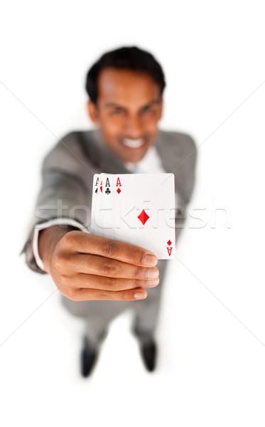 üzletember tart összes ászok fehér kéz Stock fotó © wavebreak_media