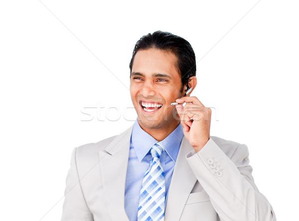 Feliz empresário fone branco escritório internet Foto stock © wavebreak_media