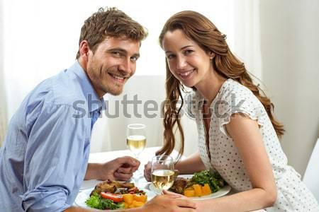 Mosolyog pár reggeli együtt konyha nő Stock fotó © wavebreak_media