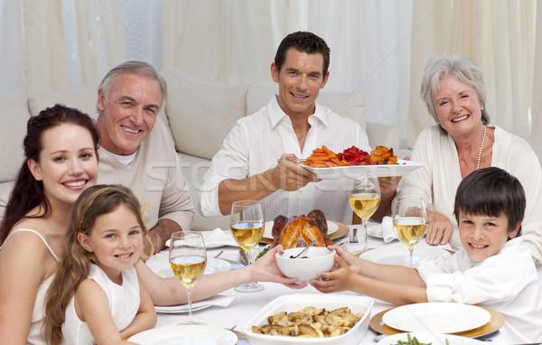 Dziadkowie rodziców dzieci rodziny obiedzie domu Zdjęcia stock © wavebreak_media