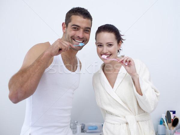 Stockfoto: Paar · schoonmaken · tanden · badkamer · aantrekkelijk · vrouw