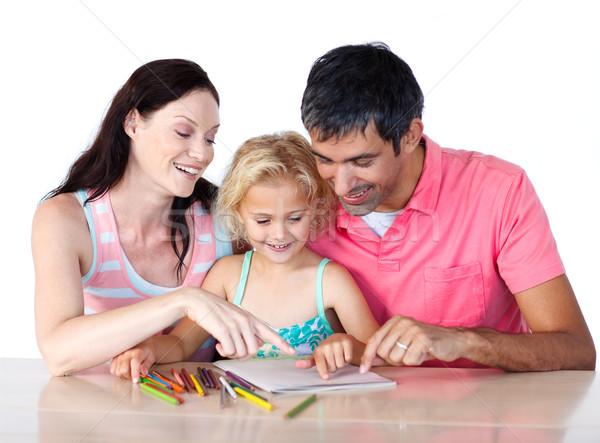 Parents aider fille devoirs maison famille Photo stock © wavebreak_media