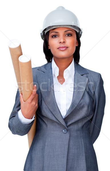 Serious architect holding blueprints Stock photo © wavebreak_media