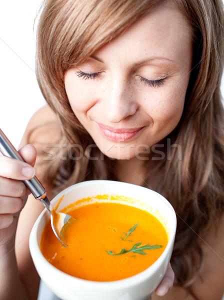 Kadın çorba çanak beyaz Stok fotoğraf © wavebreak_media