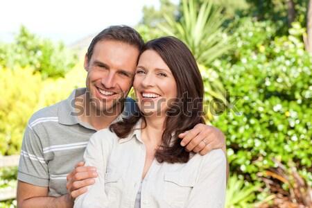 Amantes jardim mulher árvore natureza casal Foto stock © wavebreak_media
