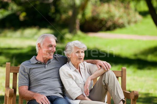 Idős pár ül pad család fű férfi Stock fotó © wavebreak_media