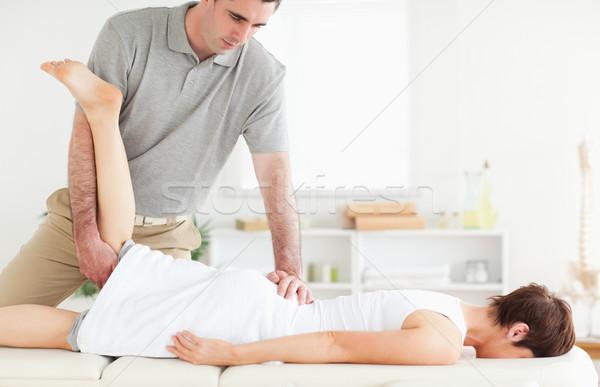Chiropractor bacak cerrahi el spor Stok fotoğraf © wavebreak_media