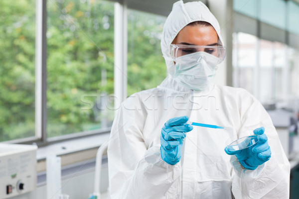 Protected science student dropping blue liquid in a Petri dish in a laboratory Stock photo © wavebreak_media